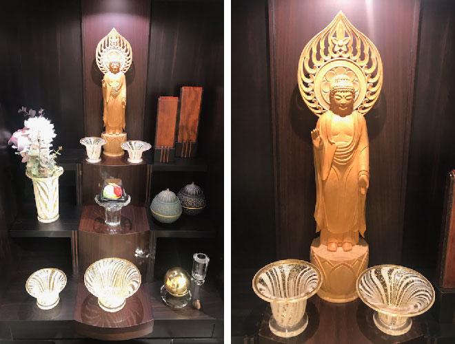 コリドールⅡ(仏壇)に仏具を設置した写真